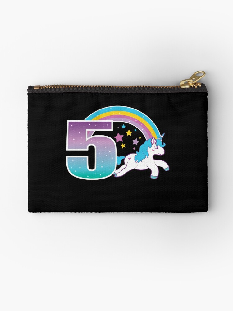 Unicorn 5th Birthday Gift Little Girl 5 Year Old Present Zipper Pouch By Modernmerch