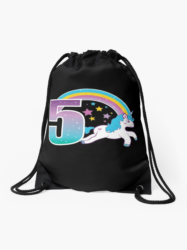 Unicorn 5th Birthday Gift Little Girl 5 Year Old Present Drawstring Bag