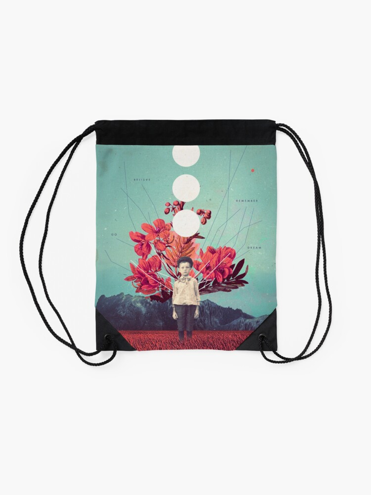 Alternate view of Standing at the Threshold of Time Drawstring Bag