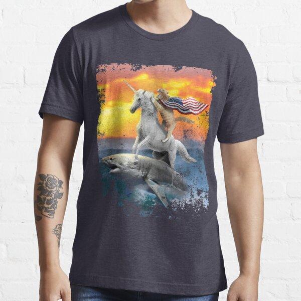 Patriotic Unicorn Cat Shark 4th of July  Essential T-Shirt