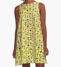 Egyptian Hieroglyphics on Yellow A-Line Dress