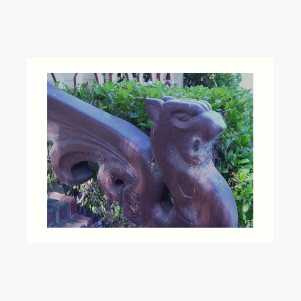 Gargoyle and Cobwebs close up  Art Print