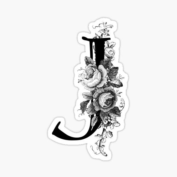 Vintage Engraved Floral Monogram Letter J Sticker