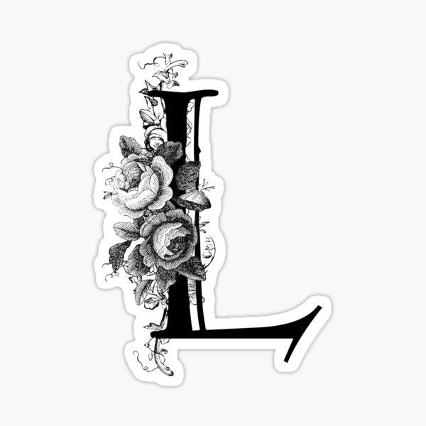 Vintage Engraved Floral Monogram Letter L Sticker