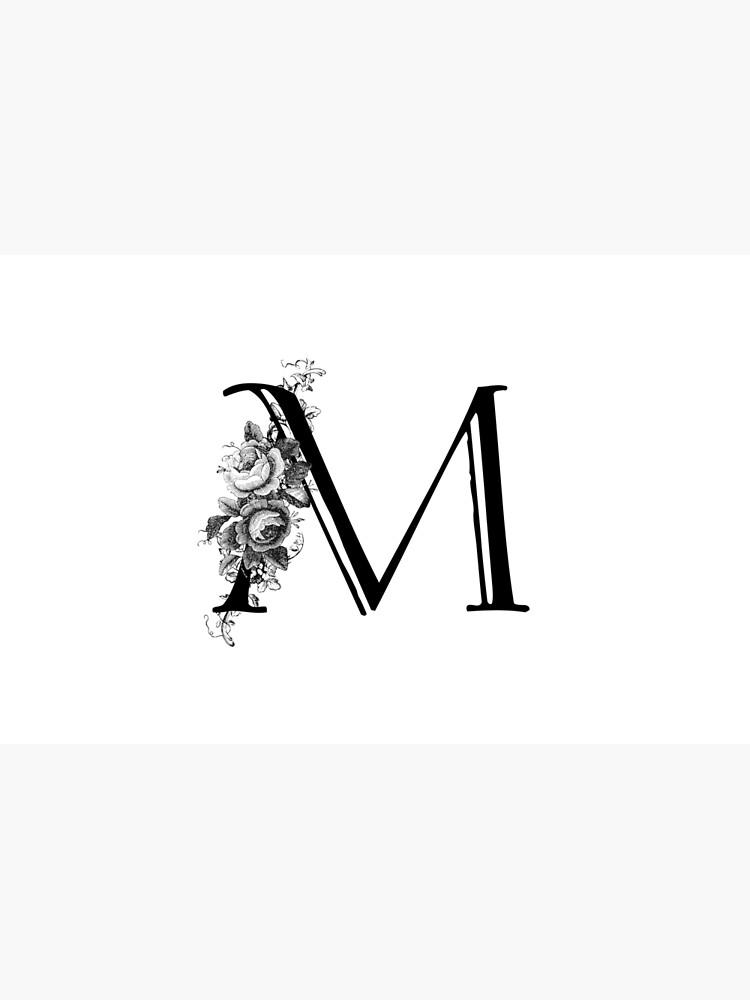 Vintage Engraved Floral Monogram Letter M by Grafixmom