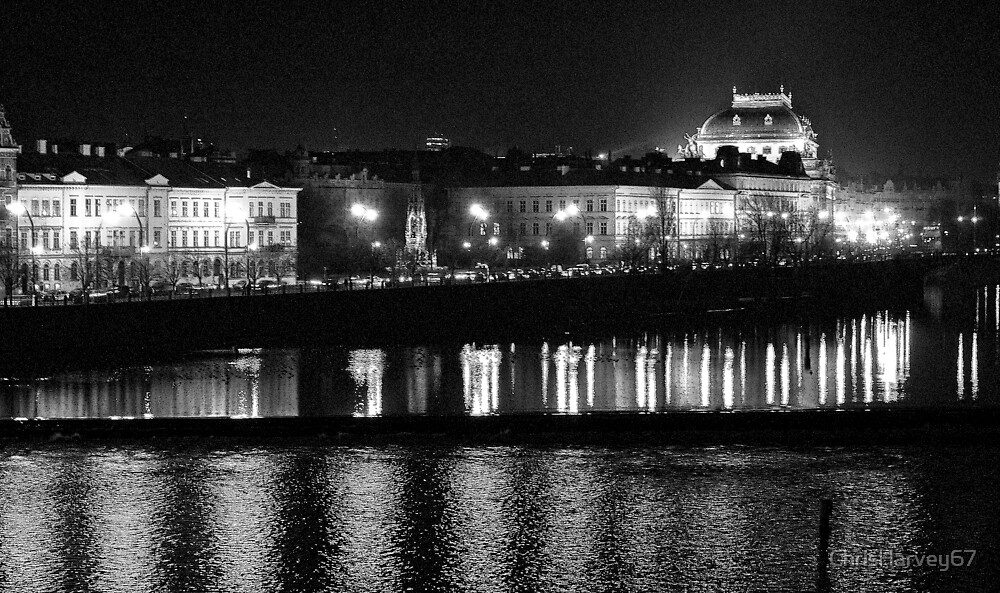 """Nightscape from Charles Bridge # 1 (Prague) """"INK OUTLINES"""" by ChrisHarvey67"""