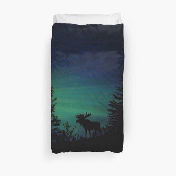 Moose with Northern Lights Duvet Cover