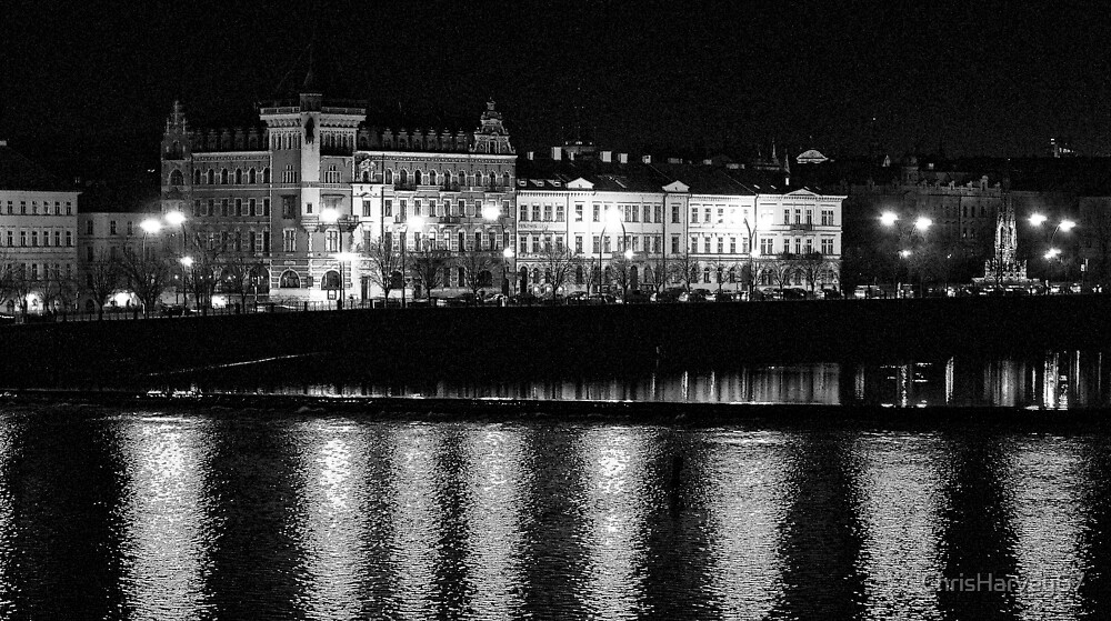 """Nightscape from Charles Bridge # 2 (Prague) """"INK OUTLINES"""" by ChrisHarvey67"""