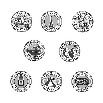 travel stamp stickers by areckewey