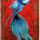 Blue Fighting Fish by Alex Tebb