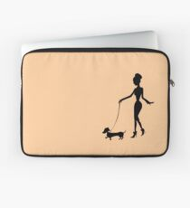 Flaunting The Pooch (peach) - Dachshund Sausage Dog Laptop Sleeve