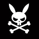 Deathbunny:  Bunny skull and crossbones by evilkidart