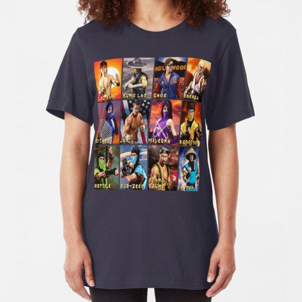 Mortal Kombat 2 SNES Character Portraits Slim Fit T-Shirt