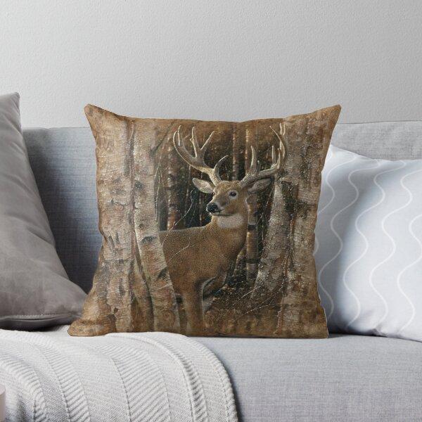 """Deer """"Birchwood Buck"""" Throw Pillow"""