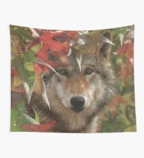 "Wolf ""Autumn Encounter"" Wall Tapestry"