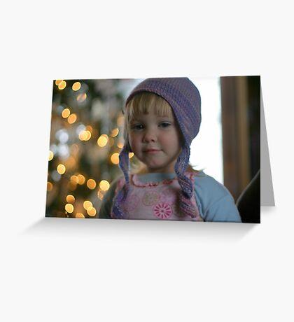 Sissy in her handmade hat Greeting Card
