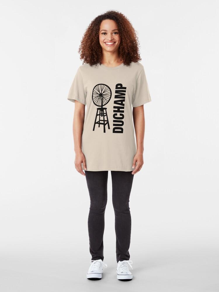 Alternate view of Marcel Duchamp's Bicycle Wheel Sculpture Slim Fit T-Shirt