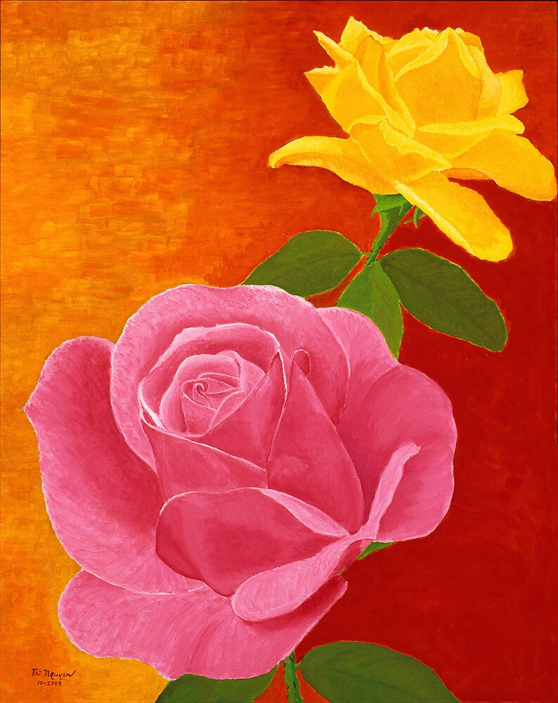 Red and Yellow Roses by Thi Nguyen