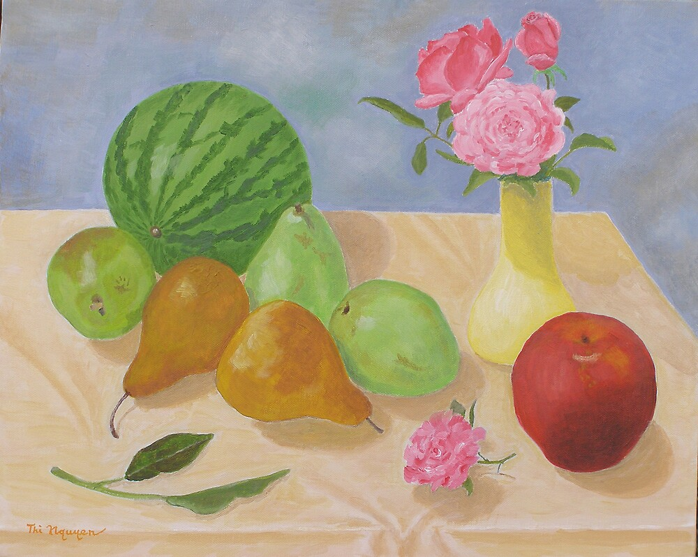Roses and Fruits No 5 by Thi Nguyen