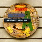 Instant Happy = Just Add Wine, Vintage Wooden Sign by Bruno Beach