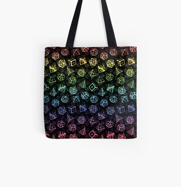 D20 Dice Set Pattern (Rainbow) All Over Print Tote Bag