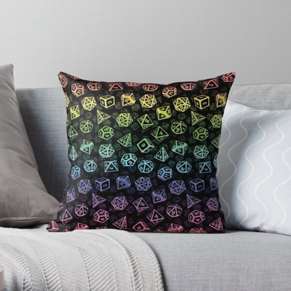 D20 Dice Set Pattern (Rainbow) Throw Pillow