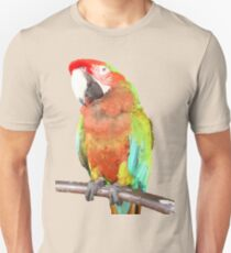 Vector Style Harlequin Macaw On A Perch Unisex T-Shirt