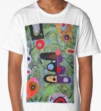 Composition On Green Blue Ground Long T-Shirt
