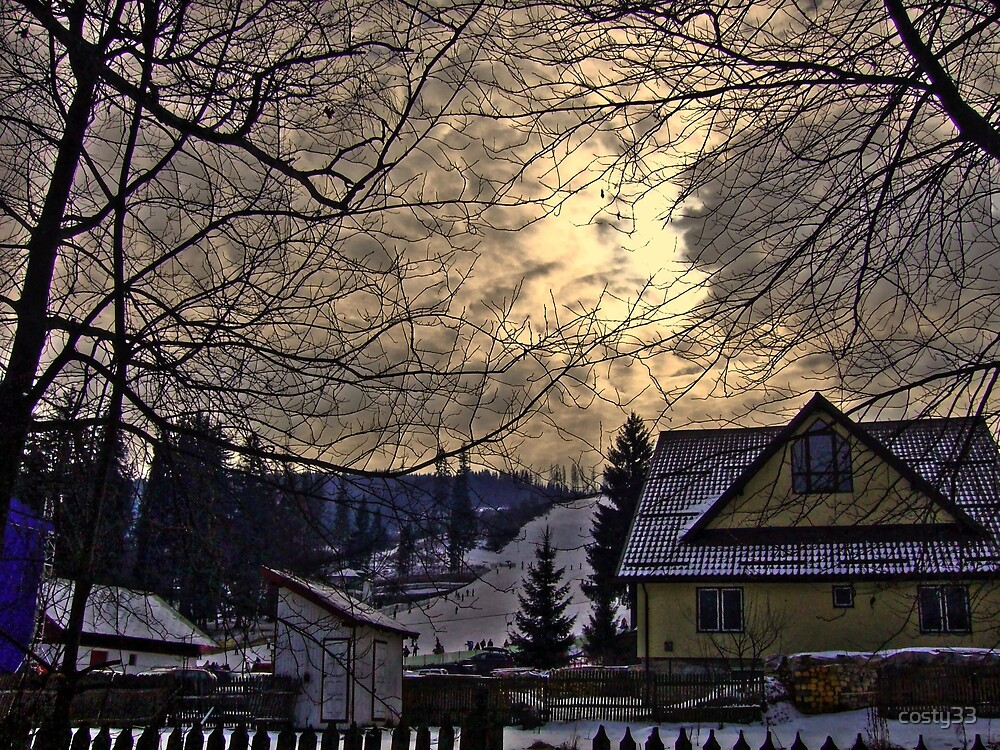 Winter mountain evening by costy33
