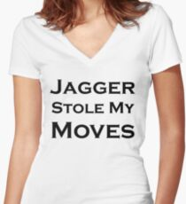 Jagger Stole My Moves Women's Fitted V-Neck T-Shirt