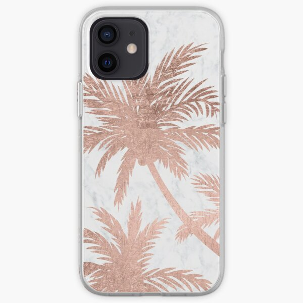 Tropical simple rose or palmiers marbre blanc Coque souple iPhone