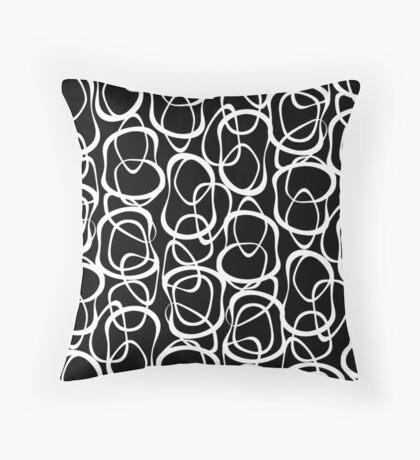 Interlocking - White on Black - Pattern Throw Pillow