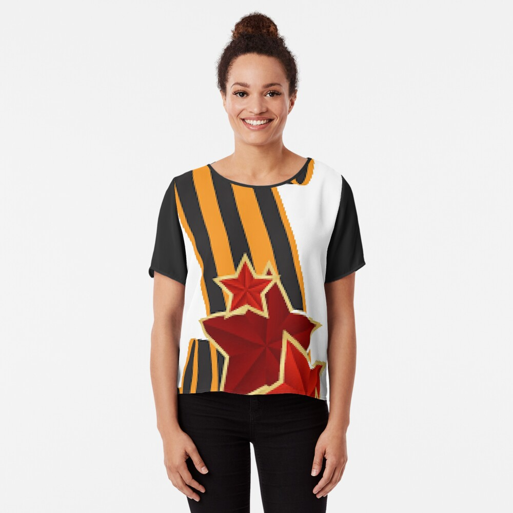 9 Мая: Victory Day is a holiday that commemorates the victory of the Soviet Union over Nazi Germany in the Great Patriotic War Chiffon Top