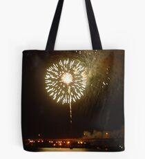 Fireworks on riverfront Tote Bag