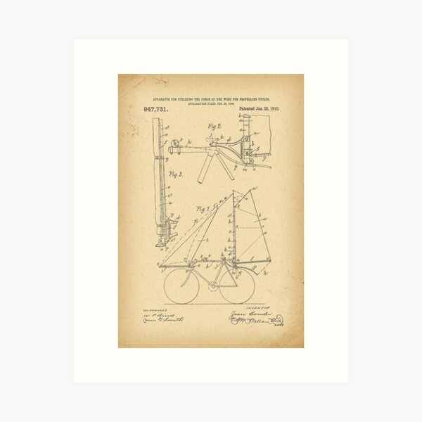 1910 Patent aerial Velocipede sail Bicycle history  invention Art Print
