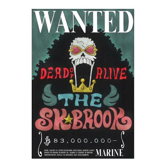 One Piece Brook Wanted Bounty Anime Design Posters By