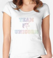Team Einhorn Tailliertes Rundhals-Shirt