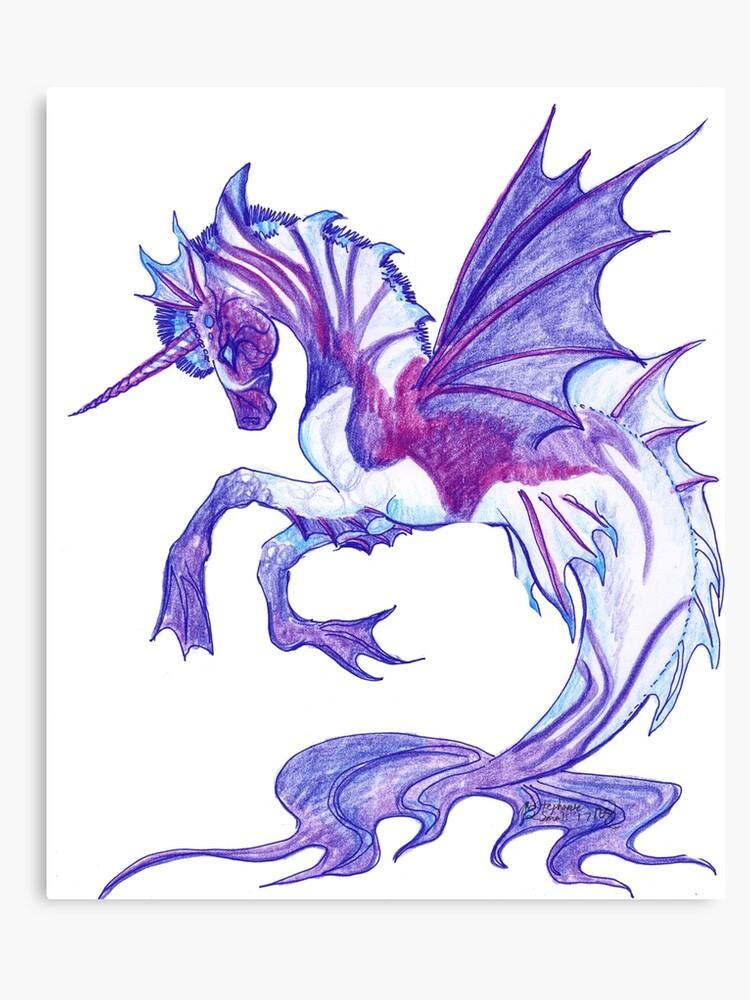 I Want A Hippocampus For Christmas.Mar Unicorn Hippocampus Horse Pony Oceano Agua Zebra Equine Equus Blue Purple Magical Aquatic Lienzo