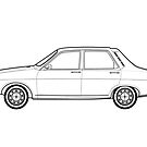 Renault 12 Classic Car Outline Artwork by RJWautographics