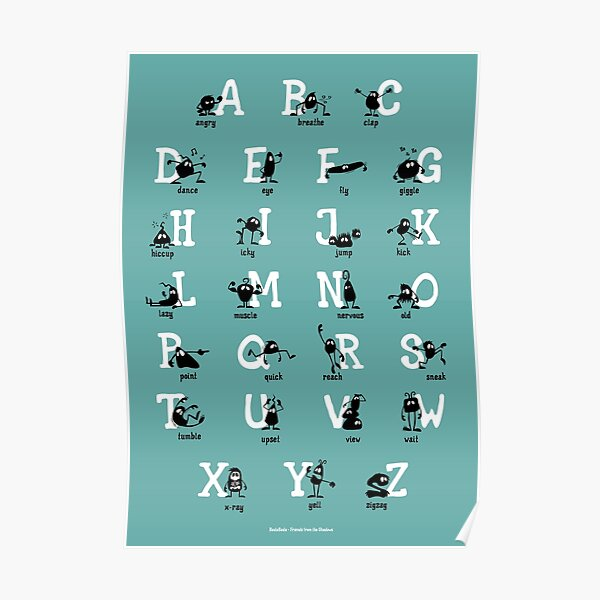 Alphabet - Aqua Poster