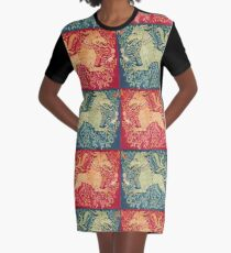 MEDIEVAL BESTIARY Lion Like Beast in Red Blue Floral Collection Graphic T-Shirt Dress