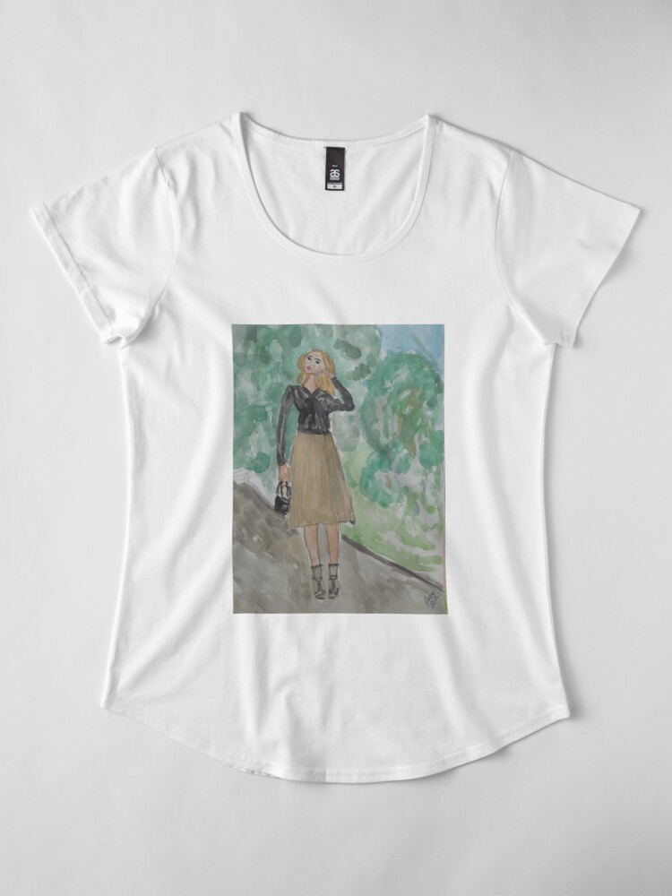 Alternate view of Fashion Illustration: A Feminine Outfit Premium Scoop T-Shirt