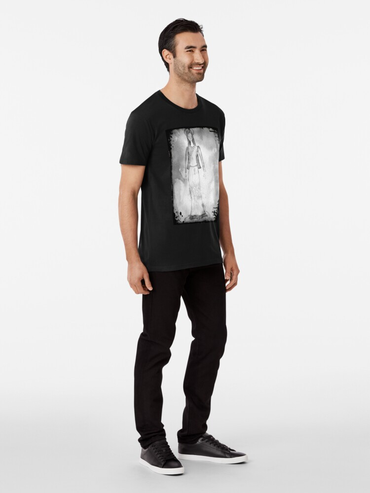 Alternate view of Virgin Mary Painting Black and White Premium T-Shirt