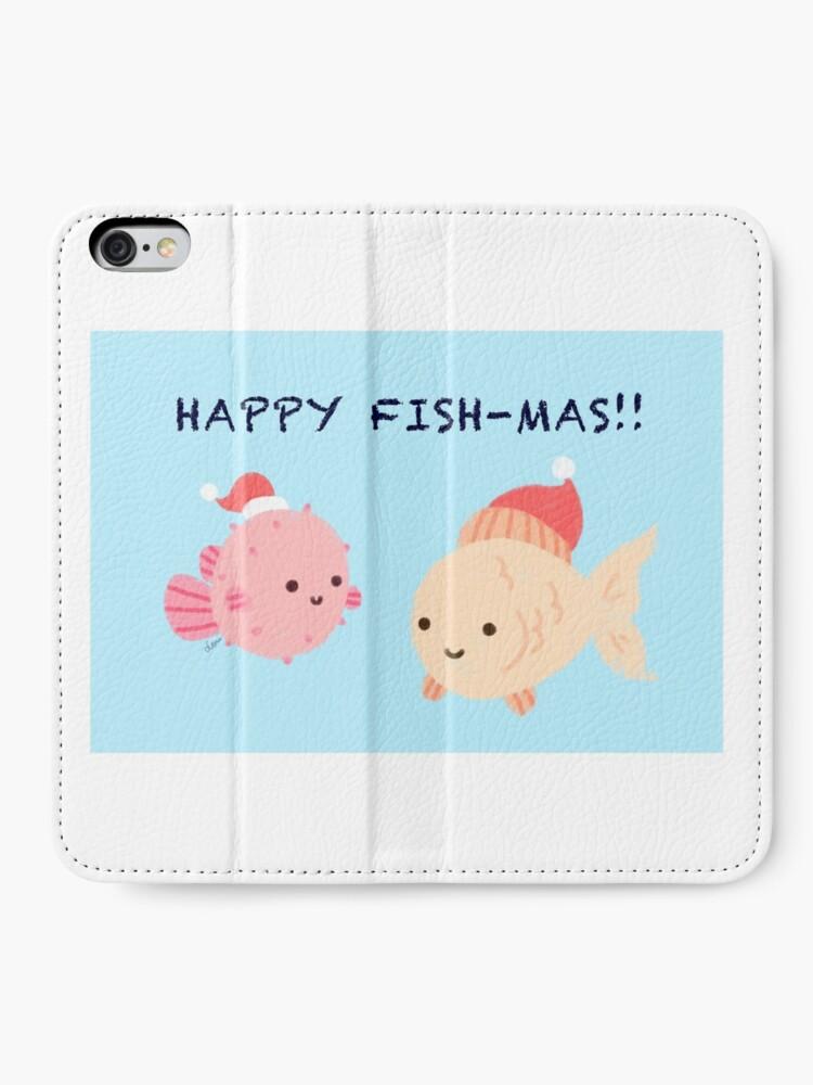 Alternative Ansicht von Glückliche Fishmas! (Weihnachtsspielkarten-Serie) iPhone Flip-Case