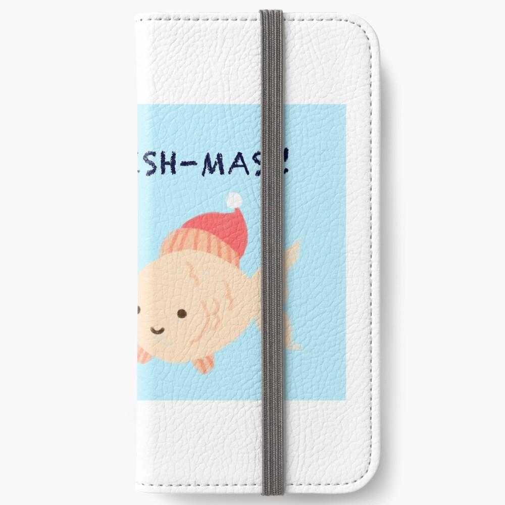 Glückliche Fishmas! (Weihnachtsspielkarten-Serie) iPhone Flip-Case