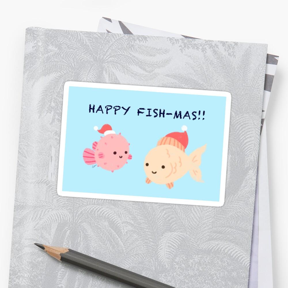 Glückliche Fishmas! (Weihnachtsspielkarten-Serie) Sticker