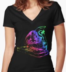 Bunny Neon DJ Women's Fitted V-Neck T-Shirt