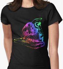 Bunny Neon DJ Women's Fitted T-Shirt
