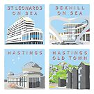 Retro style views of Hastings and St Leonards by wonder-webb