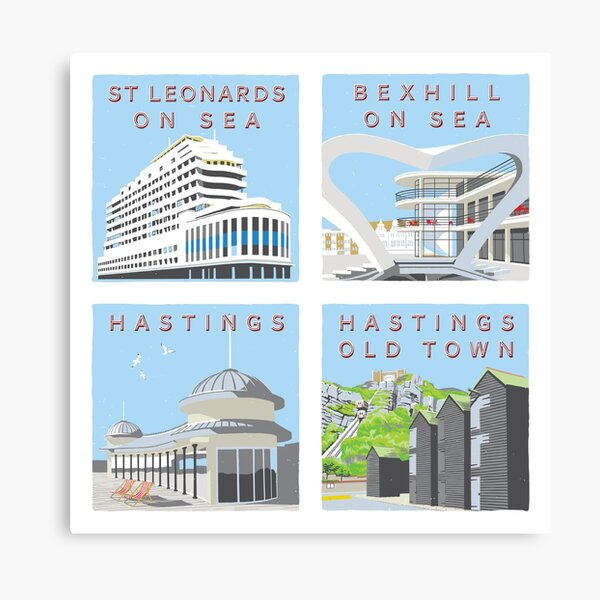 Retro style views of Hastings and St Leonards-On-Sea Canvas Print
